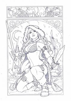 Red Sonja in art nouveau, by Sami Basri, in Dicky A. Aditomo's Dicky's Gallery Room Comic Art Gallery Room - 979708