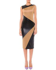 Sleeveless Colorblock Matte & Shine Dress by Fausto Puglisi at Neiman Marcus.