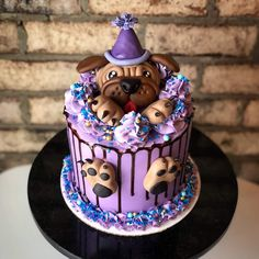 Dog Birthday Cake For Kids Puppy Birthday Cakes, Dog Birthday, Homemade Cake Recipes, Homemade Dog, Keto Recipes, Pug Cake, Animal Cakes, Drip Cakes, Cake Designs