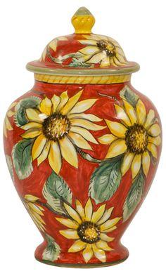 Italian Ceramic Centerpiece Urn - Red Sunflowers - Beautiful in any setting!