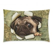 InterestPrint Animal Pug Dog Watercolor Vintage World Map Pillowcase Standard Size 20 x 30 Inches One Side, Sailor Puppy Dog out of Old Oil Painting Map Pillow Cases Cover Set Pet Shams Decorative Throw Pillow Covers, Pillow Cases, Throw Pillows, Youth Center, Love Symbols, One Sided, Dog Portraits, Pugs, Dogs And Puppies