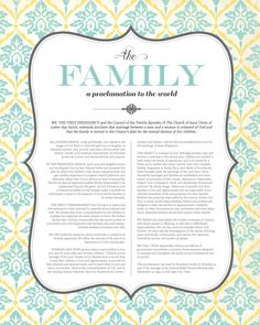 """""""The Family: A Proclamation to the World"""" free LDS printable"""