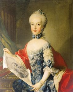 Archduchess Maria Carolina holding a portrait of her father, Francis I, Holy Roman Emperor. 1765