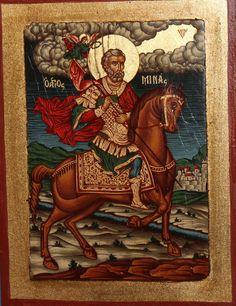 SAINTI MENAS ORTHODOX HAND PAINTED TEMPERA / WOOD ICON Religious Icons, Religious Art, Greek Icons, Paint Icon, Byzantine Art, Orthodox Icons, Tempera, Sacred Art, Conte