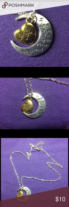 """MOM, I LOVE YOU TO THE MOON AND BACK. NECKLACE Mom, """"I Love You To The Moon And Back"""" Silver necklace. Vintage necklace. Jewelry Necklaces"""