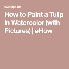 How to Paint a Tulip in Watercolor (with Pictures)   eHow