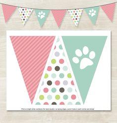 Flag Banner // Instant Download // Puppy Birthday Banner // Puppy Party // Girl Puppy Birthday // Polka Dot Birthday // Dog Theme Printable by MakeAScenePrintables on Etsy https://www.etsy.com/listing/239145223/flag-banner-instant-download-puppy