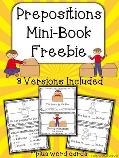 And now for your FREEBIE! I hope you like it and find it useful!! This set includes 3 versions of a mini-book using prepositions plus word/pictute cards. The adorable graphics by Lita Lita help provide a great visualization for each word!