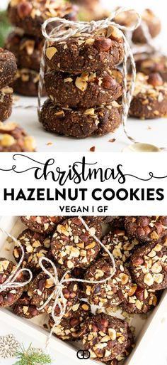 Easy cookies that are the best for any occasion. The holidays, Christmas, or anytime you might want to bake an easy and delicious vegan, gluten-free, refined sugar-free cookie. The perfect guilt-free treat Cookies Sans Gluten, Sugar Free Cookies, Gluten Free Christmas Cookies, Chocolate Hazelnut Cookies, Vegan Chocolate, Decadent Chocolate, Delicious Chocolate, Chocolate Chips, Cookie Recipes
