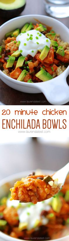 Behold! 20-Minute Chicken Enchilada Bowls. It's like the lazy mom's way of making chicken enchiladas.