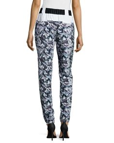 Mid-Rise Track Pants, White/Black Paint