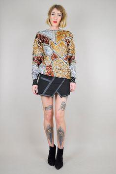 Metallic SILVER & Gold SEQUINED sweater \\\\ NOIROHIO VINTAGE