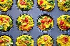 Healthy Breakfast Egg Muffins Recipe (Advanced Lifestyle: 1 Muffin - P, V, FT) Muffin Recipes, Egg Recipes, Cooking Recipes, Healthy Recipes, Healthy Egg Breakfast, Breakfast Recipes, Snacks Saludables, Egg Muffins, Breakfast Muffins
