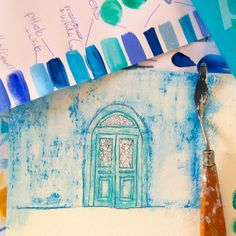 Work in progress shot - early stages of a small painting inspired by the colours and textures of the Greek village💙 The Beautiful South, Summer Story, Vibrant Colors, Colours, Peeling Paint, My Art Studio, Small Paintings, Large Canvas, Greek Islands