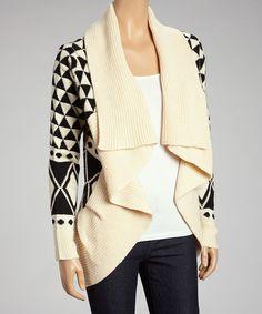 Crème & Black Geo Shawl Collar Open-Cardigan