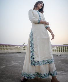 Ivory Lurex Double Layer Maxi Dress with Turquoise Emrboidery Designer Party Wear Dresses, Kurti Designs Party Wear, Indian Designer Outfits, Dress Indian Style, Indian Dresses, Pakistani Dresses, Indian Outfits, Casual Dresses, Fashion Dresses