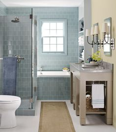 serene bathroom with blue glass tile Bathroom renovation Bathroom Tub Shower, Small Bathroom With Shower, Tub Shower Combo, Bathroom Renos, Bathroom Interior, Small Bathrooms, Bath Tub, Glass Bathroom, Design Bathroom