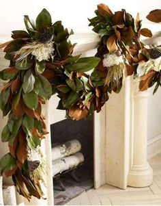 This magnolia garland for a Christmas mantle. Natural Christmas, Simple Christmas, All Things Christmas, Southern Christmas, Beautiful Christmas, Magnolia Leaf Garland, Magnolia Leaves, Christmas Mantels, Christmas Decorations