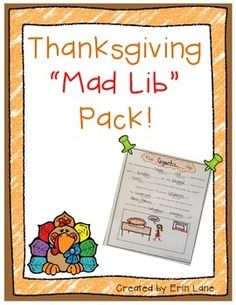 "These FUNny Thanksgiving ""Mad Libs"" are a great independent or partner literacy activity! $"