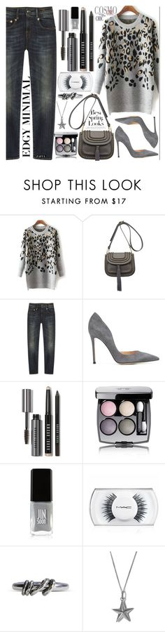 """Grey Mood"" by vanjazivadinovic ❤ liked on Polyvore featuring R13, Gianvito Rossi, Bobbi Brown Cosmetics, Chanel, JINsoon, MAC Cosmetics, Ann Demeulemeester, True Rocks, H&M and women's clothing"