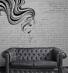 Sexy Woman Face Long Hair Ponytail Bangs Wall Decor Mural Vinyl Art Sticker M549