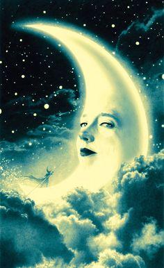 La Luna by John Picacio Sun Moon Stars, Sun And Stars, Illustration Arte, Cresent Moon, Luna Moon, Moon Dance, Moon Pictures, Paper Moon, Good Night Moon