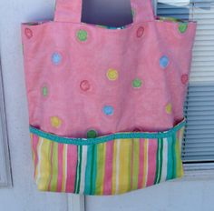 Pink and Multi Colored Polka Dot Tote With by lovelylovedesigns, $20.00