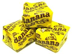 Fabulous banana flavors burst from these delectable Banana Splits candy squares!just one bite and all the sweet memories come rushing back. Retro Candy, Vintage Candy, Old School Candy, Cafeteria Food, Nostalgia, Penny Candy, Banana Bites, Chocolate Sweets, Candy Store