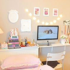 """Use a shelf instead of a desk...less space to pile """"stuff"""" and could hang a mirror over it and use it for a vanity."""