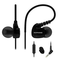 Rovking Sweatproof Sport Workout Headphones In Ear Bass Exercise Earpods with Remote and Mic Noise Sound Isolating Sports Earbuds for Running Gym Jogging Earphones for iPod iPhone Samsung HTC Black