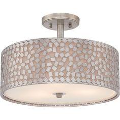 "$319 Quoizel Confetti Semi-Flush Mount  Finish: Old Silver Dimensions: 17""W x 11.5""H Bulb/Watt: 3 - 100 watt Medium Base bulbs"