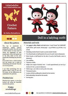 Ravelry: 146 Doll in a Ladybug outfit pattern by LittleOwlsHut #littleowlshut #crochetpattern #amigurumi #amigurumidolls #doll #stelmakhova_galina #crochetpattern #crochetlove #amigurumi #littleowlshut #Patterns #Crochet #etsy #handmade #crochettoys #crocheting #handcrafted #handcraft #knittersofinstagram #crochetaddict #crochetdoll #Stelmakhova #crochetingisfun #craftastherapy #crocheteveryday #crochetlover #amigurumilove #ladybird #ilovecrochet #ladybug #insect