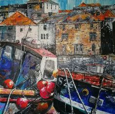 Ives - boats up close by Jill Hammond - Paint a seascape or harbour scene to win copies of David Bellamy books from Search Press Painting Competition, St Ives, Seascape Paintings, Boats, David, Scene, Search, Gallery, Artist