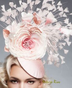 Beautiful headpiece from my new collection. The color is stunning and perfect for the derby, wedding or any other special event.  made on a round base covered with blush silk taffeta, embellished with an old pink rose color flower with buds and nude turkey feathers . It include a thin elastic, you place it around your head , its very light and easy to wear.  All my headpieces are hand made to order, please allow a week while we make and ship it. If this is a rush order please contact me to…