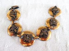 Copper Bees Butterflies Bracelet Vintage by VintageBADTIQUE