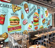 Wall Murals - Wallpaper - U. Delivery Page 9 3d Wall Murals, Graffiti Wall, Burger Restaurant, Restaurant Interior Design, Hamburger Pizza, Work Cafe, Taco Shop, Cafe Interior Design, Wall Wallpaper