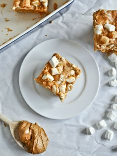 No Bake Peanut Butter Marshmallow Squares   howsweeteats.com