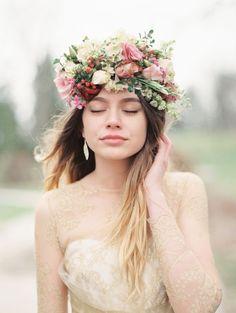 Enchanting Winter Bride in Gold and Berry   Kristin La Voie Photography   http://heyweddinglady.com/winter-garden-bridal-shoot-gold-wedding-dress/