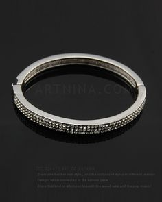 hot sale three row diamante fashion bangles with white gold plated nickel and lead free