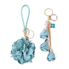 Set of 2 - White Austrian Crystal Pastel Blue Colour Floral Bag Charm or Key Chain in Yellow Gold Tone Keychain Images, Pastel Blue Color, Leather Lanyard, Floral Bags, Stationery Items, Key Chain Rings, Leather Flowers, Beaded Bags, Austrian Crystal