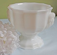 Milk Glass Vase or Planter. Footed Milk Glass Vase or Planter with Decorative Handles. Milk Glass Vase by Brody, J 2537