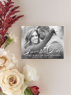 The Classic Script Save The Date is an elegant way to provide your loved ones with all your important information. Your photo will add the perfect touch to this card. Customize your font and colors to make this card all about your special day! Destination Wedding Save The Dates, Rustic Wedding Save The Dates, Modern Save The Dates, Small Wedding Receptions, Outdoor Wedding Decorations, Wedding Ideas, Spring Wedding Colors, Winter Wedding Flowers, Save The Date Magnets