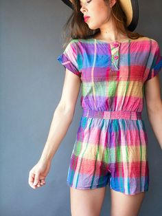 1980's Vintage Rainbow Plaid Cotton Romper by viralthreads on Etsy