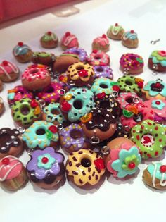 colorful polymer clay donuts