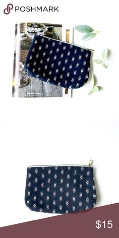"""M a d e w e l l • Diamond Stitch Zip Pouch This beauty can hold all of your essentials, as a simple clutch, use as a pouch and throw it in a tote! It is a nice size, ready to carry your lip balm, keys, phone and more! The ikat-inspired jacquard is simply perfect!  Details: -8 11/16"""" W x 5 15/16"""" H x 1 3/8"""" D -in gently loved condition -light wear is visible, see photos Madewell Bags Clutches & Wristlets"""