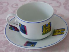 Spal Porcelain  Lisbon Portugal Cup and Saucer  by ChicAvantGarde