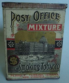 VERY RARE VERTICAL POST OFFICE MIXTURE ADVERTISING TOBACCO TIN NEAR MINT GRAPHIC