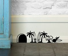 Funny Mouse 'Surf/ Surfing Mouse' Wall Stickers for Doors, Walls, Skirting. 007 #wallridestudio #Childrens