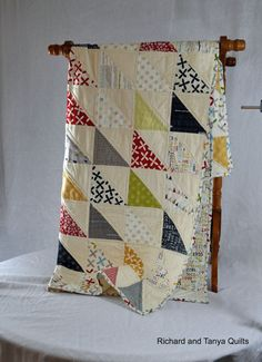 Triangle Patchwork Toddler Bed/Lap  Quilt out of by RichardQuilts, $135.00
