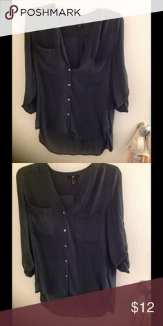 Olive green chiffon button up Nice material H&M Tops Button Down Shirts